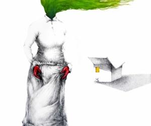 Brise verte - Graphite, mine de plomb et aquarelle sur papier - 80X100 cm - 2018