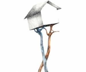 La maison du poète - Graphite et aquarelle sur papier - 30X40 cm - 2019