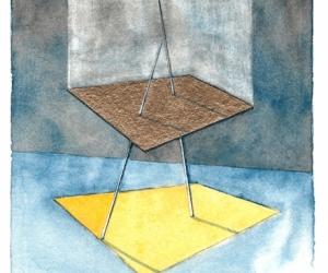 Spiritual balance - Aquarelle et encre or sur papier - 24X32 cm - 2019