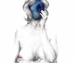 Réflexion bleue - Aquarelle et graphite sur papier - 40X50 cm - 2017