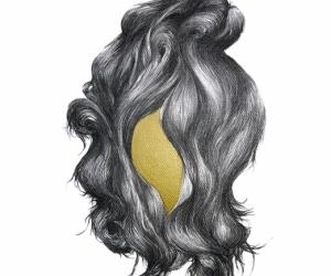 Un rien doré - Fusain, graphite et encre or sur papier - 2019