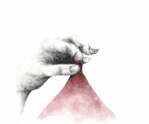 Pression rouge - Graphite et aquarelle sur papier - 15X20 cm - 2019