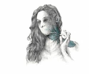 Tension bleue - Graphite et aquarelle sur papier - 30X40 cm - 2019