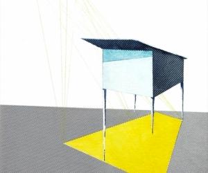 Architecture#1 - Graphite, aquarelle et collage sur papier - 2019