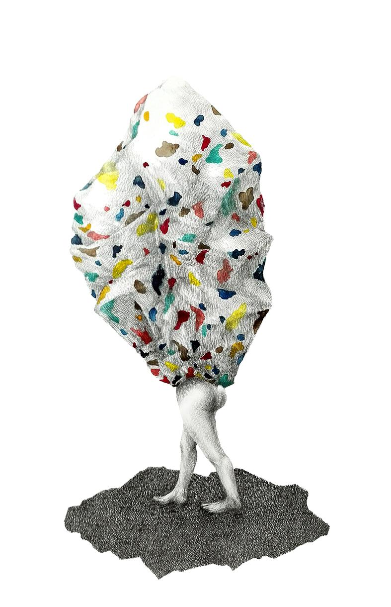 Bientôt, toujours rien - Graphite et aquarelle sur papier - 2019